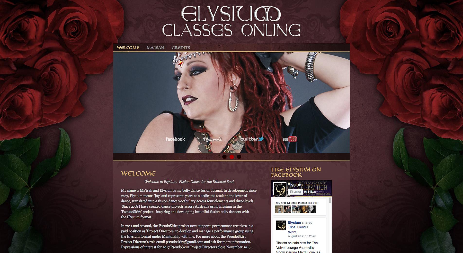 Elysium Classes Online Website - First Version